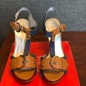 Guess Denim and Leather Sandals